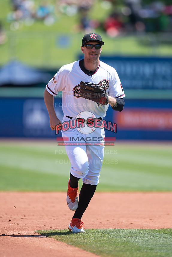Sacramento RiverCats right fielder Hunter Pence (40) jogs off the field between innings of a rehab assignment during a Pacific Coast League against the Tacoma Rainiers at Raley Field on May 15, 2018 in Sacramento, California. Tacoma defeated Sacramento 8-5. (Zachary Lucy/Four Seam Images)