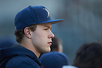 Xavier Musketeers pitcher Sam Czabala (18) watches from the dugout during the game against the Penn State Nittany Lions at Coleman Field at the USA Baseball National Training Center on February 25, 2017 in Cary, North Carolina. The Musketeers defeated the Nittany Lions 7-5 in game two of a double header. (Brian Westerholt/Four Seam Images)