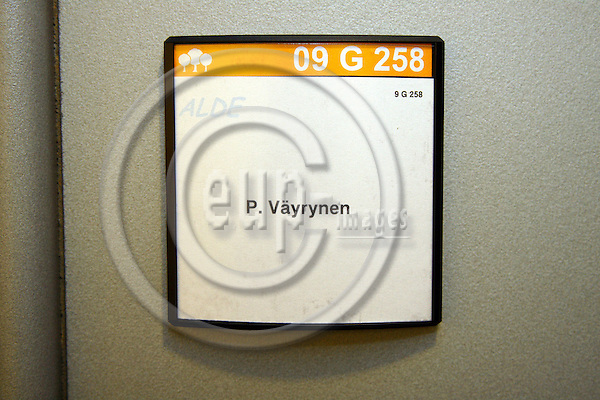 BRUSSELS - BELGIUM - 18 APRIL 2007 -- The office tag of the former Finnish MEP Paavo VÄYRYNEN. -- PHOTO: Hans WESTERLING / EUP-IMAGES
