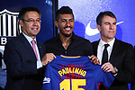 Presentation of Paulinho Bezerra as new player of the FC Barcelona.<br /> Josep M. Bartomeu, Paulinho &amp; Robert Fernandez.