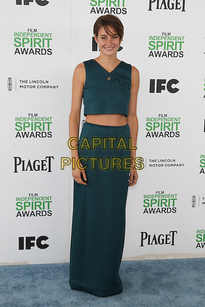 SANTA MONICA, CA - MARCH 1: Shailene Woodley attending the 2014 Film Independent Spirit Awards in Santa Monica, California on March 1st, 2014. Photo Credit: RTNUPA/MediaPunch<br /> CAP/MPI/RTNUPA<br /> &copy;RTNUPA/MediaPunch/Capital Pictures