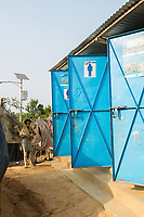 Bangladesh, Cox's Bazar. Kutupalong Rohingya Refugee Camp. The Rohingya, a Muslim ethnic group  denied citizenship in Burma/Myanmar have escaped persecution from Burmese militants in their country. There are up to 500,000 refugees and migrants living in makeshift camps in Cox's Bazar. Toilets.