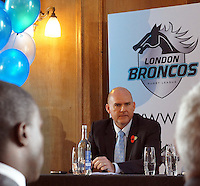 PICTURE BY STEVEN DEVONSHIRE/SWPIX.COM...Rugby League - Super League - London Broncos Rebranding Launch - London, England - 01/11/11…London Broncos Gus Mackay announces the rebranding and name change of Harlequins RL to London Broncos.
