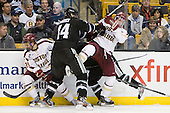 Steven Whitney (BC - 21), Myles Harvey (PC - 44), Kevin Hayes (BC - 12) - The Boston College Eagles defeated the Providence College Friars 4-2 in their Hockey East semi-final on Friday, March 16, 2012, at TD Garden in Boston, Massachusetts.