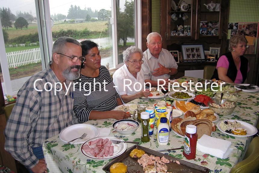 Terry & Gilda McCann, Ida & Johnny Wells & Jan Riesterer..in family kitchen in Oregon