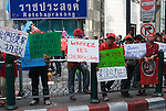 Bangkok, Jan 23: Protestors want Red Shirt leaders still in jail to be released. United Front for Democracy against Dictatorship (UDD) Red Shirt protestors rally at Ratchapraong intersection in central Bangkok before marching to Democracy Monument. Red Shirt leaders vowed to rally two times each month to commemorate the military crackdowns on protestors last year. Bangkok, January 23, 2010.