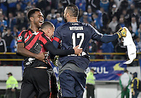 BOGOTA - COLOMBIA -08 -02-2017: Jugadores de Atletico Paranaense de Brasil, celebran la clasificación a la siguiente fase por tiros penal después del partido entre Millonarios de Colombia y Atletico Paranaense de Brasil, por la segunda fase, llave 1 de la Copa Conmebol Libertadores Bridgestone 2017 jugado en el estadio Nemesio Camacho El Campin, de la ciudad de Bogota. / Players of  Atletico Paranaense of Brasil,  celebrate the clasification to the next phase by penalty series after a match between Millonarios of Colombia and Atletico Paranaense of Brasil, for the second phase, key1, of the Conmebol Copa Libertadores Bridgestone 2017 played at Nemesio Camacho El Campin in Bogota city. Photo: VizzorImage / Luis Ramirez / Staff.