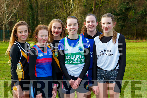 The winners in the Junior Girls race at the Kerry Schools Cross Country championships in Killarney on Friday l-r:  Alison Lane Mercy Mounthawk 6th, Kerry Eager IS Killorglin 2nd, Eabha Murphy Mercy Mounthawk 5th, Deirdre Kelly Colaiste na Sceilge 1st, Anna Kerrisk 4th Pres Milltown and Cliona Daly PS Inbhear Sceine 3rd
