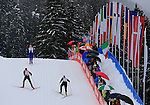 Forerunners during the FIS Ski World Cup Men' 15 Km Individual Classic, on February 1, 2014 in Dobbiaco, Toblach. <br /> <br /> &copy; Pierre Teyssot