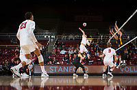 STANFORD, CA - January 17, 2019: Jaylen Jasper, Eric Beatty, Kyle Dagostino, Stephen Moye at Maples Pavilion. The Stanford Cardinal defeated UC Irvine 27-25, 17-25, 25-22, and 27-25.