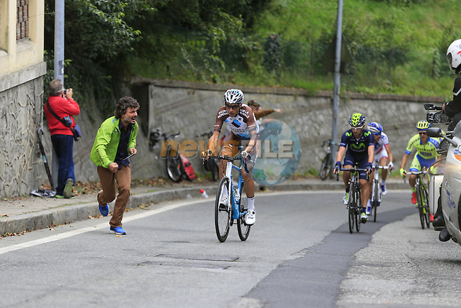 Matteo Montaguti (ITA) AG2R tries to make a break from the chasers on the final climb of Superga near the finish of the 2015 96th Milan-Turin 186km race starting at San Giuliano Milanese, Italy. 1st October 2015.<br /> Picture: Eoin Clarke | Newsfile