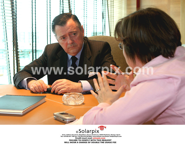 PICTURES FROM SOLARPIX.COM.MUST CREDIT SOLARPIX.COM OR DOUBLE FEE INCURRED.The bank director Mr.Alfredo Saenz for the city group Santander Central Hispano in 'Bodilla del Monte' in Madrid these pictures show Mr.Alfredo Saenz being interviewed by the times reporter yesterday....DATE:12.05.06-JOB REF:2340-SPA