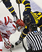 Clayton Keller (BU - 19), Logan Coomes (Merrimack - 17) - The visiting Merrimack College Warriors defeated the Boston University Terriers 4-1 to complete a regular season sweep on Friday, January 27, 2017, at Agganis Arena in Boston, Massachusetts.The visiting Merrimack College Warriors defeated the Boston University Terriers 4-1 to complete a regular season sweep on Friday, January 27, 2017, at Agganis Arena in Boston, Massachusetts.
