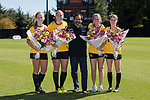(L-R) Riley Ridgik (2), Kim Marshall (10), Jessica Mandarich (9) and Lindsey Ervin (29) were honored on Senior Day prior to the match against the Syracuse Orange at Spry Soccer Stadium on October 26, 2014 in Winston-Salem, North Carolina.  The Demon Deacons and the Orange played to a 0-0 tie.   (Brian Westerholt/Sports On Film)