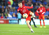 19th November 2019; Cardiff City Stadium, Cardiff, Glamorgan, Wales; European Championships 2020 Qualifiers, Wales versus Hungary; Harry Wilson of Wales strikes the volley during warm up - Editorial Use