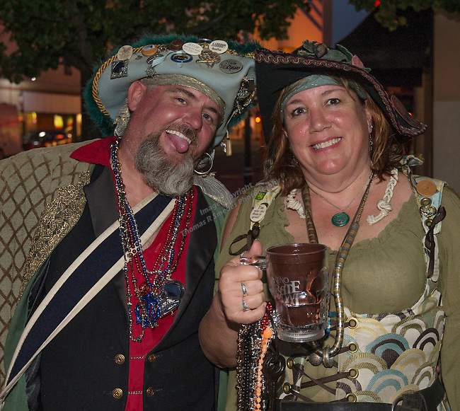 Robert Jeremiah Riggs and Mad Sal Malone during the Pirate Crawl held in downtown Reno on Saturday night, August 13, 2016.
