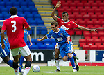 St Johnstone v Man Utd XI....31.07.10  Alan Main Testimonial.Chris Millar skips a tackle.Picture by Graeme Hart..Copyright Perthshire Picture Agency.Tel: 01738 623350  Mobile: 07990 594431