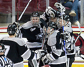 Eric Baier (Providence - 7), Tim Schaller (Providence - 11), David Cavanagh (Providence - 2), Matt Bergland (Providence - 17), Kyle MacKinnon (Providence - 15) - The Boston College Eagles defeated the Providence College Friars 4-1 on Tuesday, January 12, 2010, at Conte Forum in Chestnut Hill, Massachusetts.