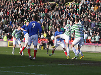 A scramble in the goalmouth in the Celtic v Rangers City of Glasgow Cup Final match played at Firhill Stadium, Glasgow on 29.4.13,  organised by the Glasgow Football Association and sponsored by City Refrigeration Holdings Ltd.