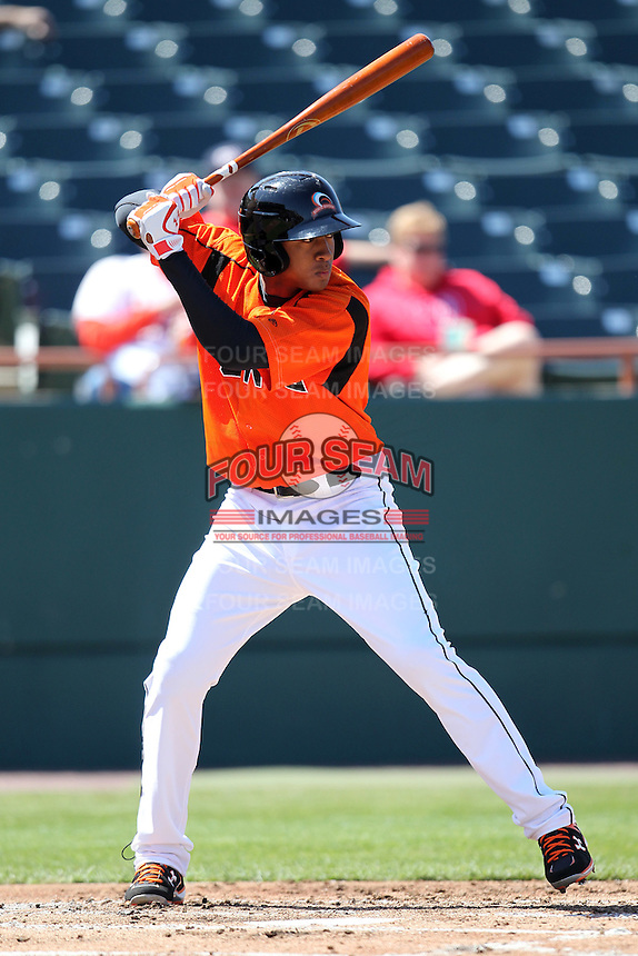 Bowie BaySox second baseman Jonathan Schoop #46 during a game against the Harrisburg Senators at Prince George's Stadium on April 8, 2012 in Bowie, Maryland.  Harrisburg defeated Bowie 5-2.  (Mike Janes/Four Seam Images)