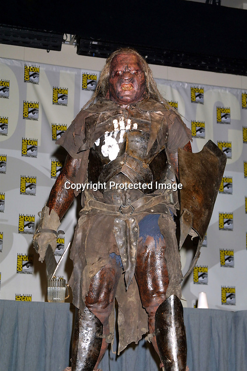 """©2003 KATHY HUTCHINS  / HUTCHINS PHOTO AGENCY.COMICON CONVENTION.SAN DIEGO, CA.JULY 19, 2003..SALA BAKER """"MAN FLSESH URUK"""" PROMOTING THE AUGUST 26TH DVD RELEASE OF """"THE LORD OF THE RINGS:  THE TWO TOWERS"""" -- DURING THE NEW LINE PRESENTATION AT COMICON.  SALA IS IN FULL AUTHENTIC MAKEUP AND COSTUME FROM THE MOVIE"""