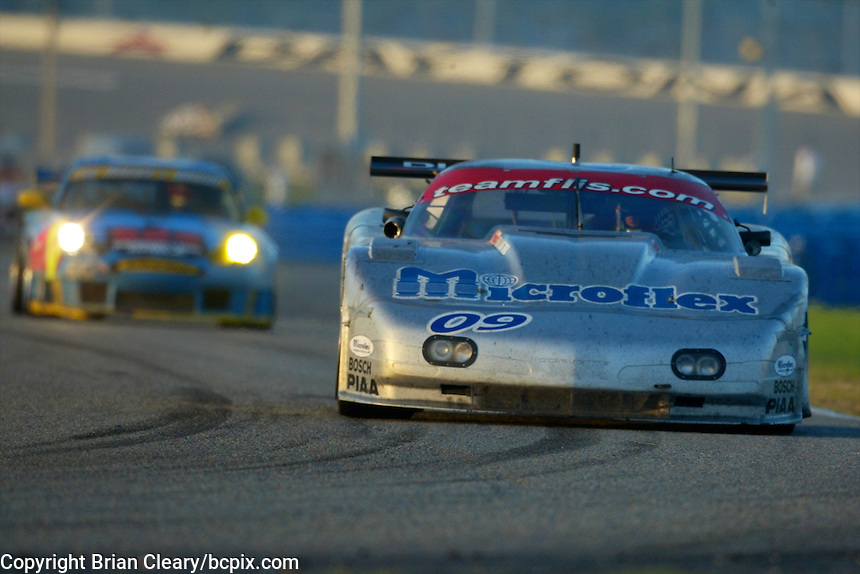 The #09 Flis Motorsports Chevrolet Corvette of Michael Ciasulli, Andy Pilgrim, Craig Conway, and Doug Goad races to a 22nd place finish the 24 Hours of Daytona, Daytona International Speedway, Daytona Beach, FL, February 3, 2002.  (Photo by Brian Cleary/www.bcpix.com)