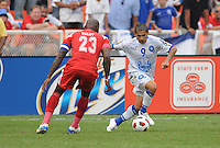 El Salvador Rudi Corrales (9) goes against Panama Felipe Baloy (23)   Panama defeated El Salvador in penalty kicks 5-3 in the quaterfinals for the 2011 CONCACAF Gold Cup , at RFK Stadium, Sunday June 19, 2011.