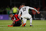 Callum Wilson of Bournemouth tussles with Chris Smalling of Manchester Unitedduring the premier league match at the Vitality Stadium, Bournemouth. Picture date 18th April 2018. Picture credit should read: David Klein/Sportimage