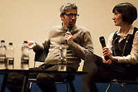 """(From L To R) Pif & the interpreter. <br /> <br /> London, 25/03/2017. Today, CinemaItaliauk held the premiere of the Italian movie """"In Guerra Per Amore"""" (At War With Love) at the Genesis Cinema in London's Whitechapel (On London's 11 Best Independent Cinemas list). Special guest of the event was the Director and main actor of the movie Pif (Aka Pierfrancesco Diliberto, Italian television host and film director and actor and writer) who held a Q&A with Clare Longrigg, deputy Editor of the Guardian. After the success with """"The Mafia Kills Only in Summer"""" (2013), Pif is back with a love comedy based on true facts in which the Sicilian Director shows the agreement, made during World War II between the US Army and the Sicilian mafia, to invade and occupy Sicily without provoking any trouble, re-establishing the criminal power of """"Cosa Nostra"""" on the Italian southern island. <br /> <br /> For more information please click here: http://www.imdb.com/title/tt5263116/ & https://www.facebook.com/events/237675699972952/ & https://www.facebook.com/CinemaItaliaUk/"""