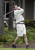June 23, 2008:  Former Seattle SuperSonics and founder of the tournament, Detlef Schrempf chips his ball only 28 inches from the cup on hole #4 on the Par 3 hole while playing in the Detlef Schrempf celebrity golf classic held at McCormick Woods golf club in Port Orchard, WA.