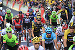 Riders cross the finish line of Stage 2 of the 104th edition of the Tour de France 2017, running 203.5km from Dusseldorf, Germany to Liege, Belgium. 2nd July 2017.<br /> Picture: Eoin Clarke | Cyclefile<br /> <br /> <br /> All photos usage must carry mandatory copyright credit (&copy; Cyclefile | Eoin Clarke)