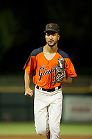 AZL Giants left fielder Aaron Bond (38) jogs off the field between innings of the game against the AZL Rangers on August 22 at Scottsdale Stadium in Scottsdale, Arizona. AZL Rangers defeated the AZL Giants 7-5. (Zachary Lucy/Four Seam Images via AP Images)