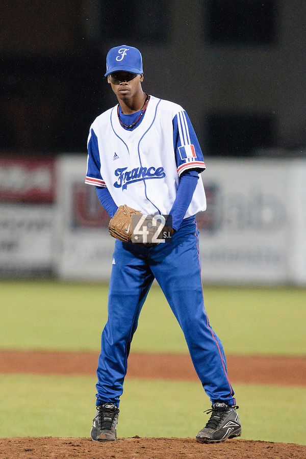21 August 2010: Luis de la Rosa of Team France pitches against Russia during Russia 13-1 win in 7 innings over France, at the 2010 European Championship, under 21, in Brno, Czech Republic.