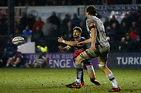 Dorian Jones offloads the ball during the European Challenge Cup match between Dragons and Bordeaux Begles at Rodney Parade, Newport, Wales, UK. 20 January 2018