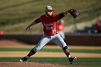 Gardner-Webb Runnin' Bulldogs relief pitcher Wil Sellers (24) in action against the Wake Forest Demon Deacons at David F. Couch Ballpark on February 18, 2018 in  Winston-Salem, North Carolina. The Demon Deacons defeated the Runnin' Bulldogs 8-4 in game one of a double-header.  (Brian Westerholt/Four Seam Images)