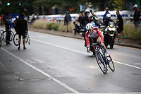 Felix Gall (AUT) rides ahead solo, but will ultimately become Junior World Champion in a very tight sprint 1 laps later...<br /> <br /> Men Junior Road Race<br /> UCI Road World Championships Richmond 2015 / USA