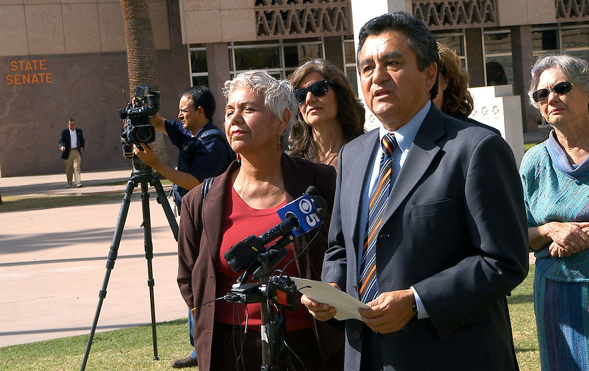 AJ Alexander - Danny Ortega (cq) with the National Council of La Raza speaks at the Boycott Press Confrence at the Arizona State Capitol on Friday March 18, 2011..Photo by AJ Alexander.All Rights Reserved