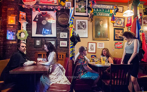 Edgar Allan Poe and Virginia Eliza Clemm Poe visit the dive bar The Pug on H Street NE in Washington, DC.<br /> PHOTOS/John Nelson