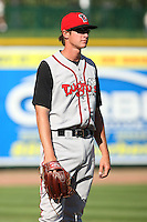 June 15th 2008:  Pitcher Brian Letko of the Lansing Lugnuts, Class-A affiliate of the Toronto Blue Jays, during a game at Dow Diamond in Midland, MI.  Photo by:  Mike Janes/Four Seam Images