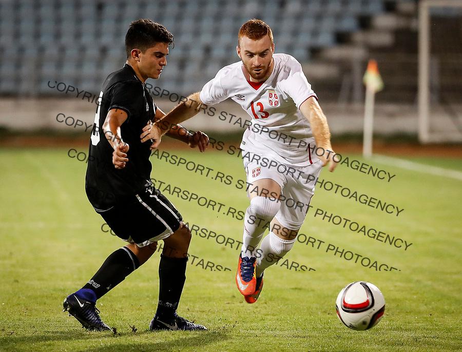 Fudbal Soccer<br /> Reprezentacija Srbije U21<br /> Kvalifikacije za U21 EURO 2019<br /> Srbija U21 v Gibraltar U21<br /> Miroslav Bogosavac (R) and Theo Pizarro<br /> Jagodina, 09.01.2017.<br /> foto: Srdjan Stevanovic/Starsportphoto &copy;