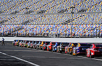 Feb 11, 2009; Daytona Beach, FL, USA; NASCAR Sprint Cup Series drivers wait to enter the track for the beginning of practice for the Daytona 500 at Daytona International Speedway. Mandatory Credit: Mark J. Rebilas-