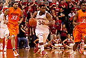12 February 2011: Nebraska Cornhuskers guard Lance Jeter #34 dribbles the ball down court during the first half at the Devaney Sports Center in Lincoln, Nebraska. Nebraska defeated Oklahoma State 65 to 54.