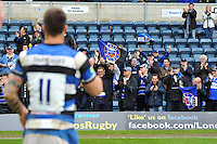 Bath fans in the crowd celebrate the win after the match. Amlin Challenge Cup semi-final, between London Wasps and Bath Rugby on April 27, 2014 at Adams Park in High Wycombe, England. Photo by: Patrick Khachfe / Onside Images