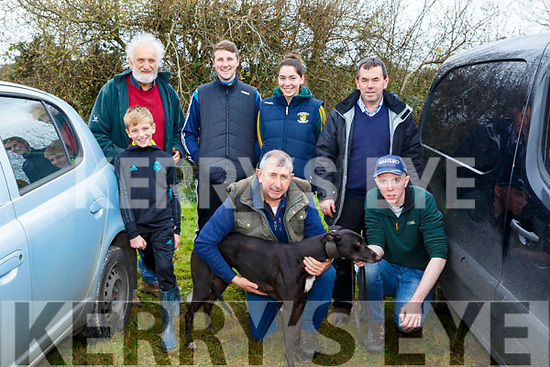 Front L-r Gavin O'Keeffe, John Kelliher, Dara Sheehan, Back l-r Mike Galvin, Mikey Reidy, Julianne O'keeffe and John O'Keeffe with Driesden Log on at the 58th Island Cup meeting of the Castleisland coursing Club on Monday