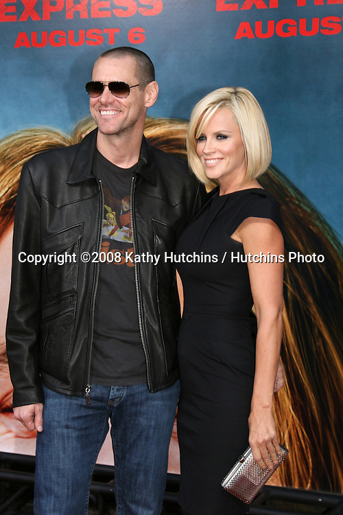 "Jim Carrey & Jenny McCarthy arriving at the premiere of ""Pineapple Express""  in Westwood, CA on.July 31, 2008.©2008 Kathy Hutchins / Hutchins Photo ."