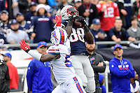 Sunday, October 2, 2016: New England Patriots tight end Martellus Bennett (88) makes a catch with pressure from Buffalo Bills inside linebacker Zach Brown (53) during the NFL game between the Buffalo Bills and the New England Patriots held at Gillette Stadium in Foxborough Massachusetts. Buffalo defeats New England 16-0. Eric Canha/Cal Sport Media