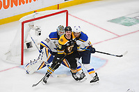 June 6, 2019: Boston Bruins center Noel Acciari (55) battles between St. Louis Blues goaltender Jordan Binnington (50) and center Brayden Schenn (10) during game 5 of the NHL Stanley Cup Finals between the St Louis Blues and the Boston Bruins held at TD Garden, in Boston, Mass. The Blues defeat the Bruins 2-1 in regulation time. Eric Canha/CSM