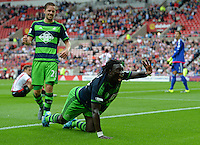 Bafetibis Gomis of Swansea City celebrates scoring their first goal during the Barclays Premier League match between Sunderland and Swansea City played at Stadium of Light, Sunderland