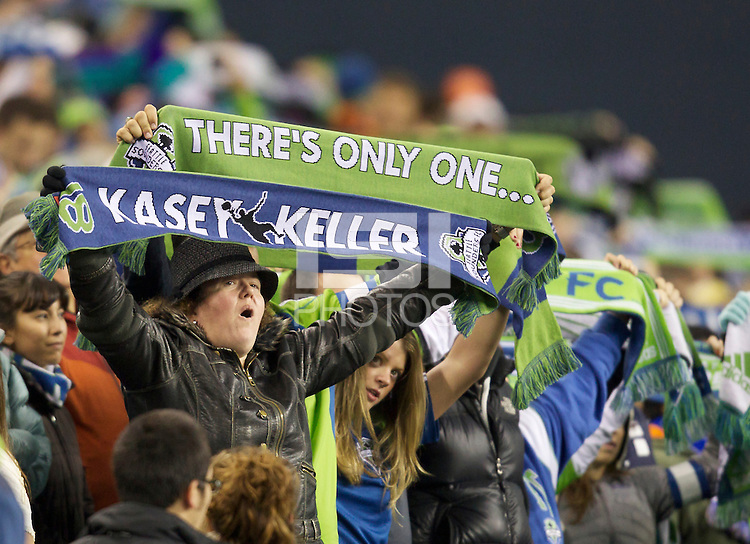 A pair of Seattle Sounders FC fans show their appreciation for goalkeeper Kasey Keller before play between the Seattle Sounders FC and the San Jose Earthquakes at CenturyLink Field in Seattle Saturday October 15, 2011. The Sounders FC won the game 2-1. The game was Keller's last regular season home game.