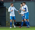 Queen of the South's Iain Russell (left) celebrates after he thought he scored their goal, however referee Crawford Allan gave the goal to Gavin Reilly.
